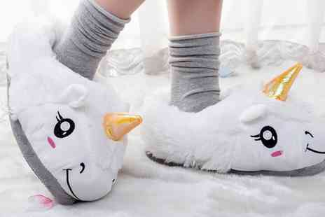 Groupon Goods Global GmbH - One or Two Pairs of Womens Unicorn Slippers - Save 0%