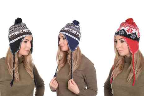 Groupon Goods Global GmbH - Martildo Knitted Fair Isle Fur Trim Pom Pom Hat With Ear Flaps - Save 56%