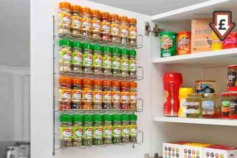 Groupon Goods Global GmbH - Chrome Spice Rack Jar Holder for Wall or Kitchen Cupboard - Save 71%