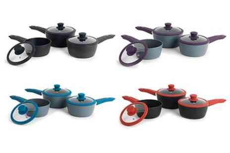 Groupon Goods Global GmbH - Progress Forged Three Piece Saucepan Set in Choice of Colour With Free Delivery - Save 56%