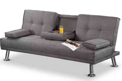 Groupon Goods Global GmbH - New York Three Seater Fabric Sofa Bed with Drinks Table With Free Delivery - Save 34%