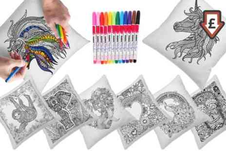 Groupon Goods Global GmbH - Graffiti Pillow Covers with Colouring Pens - Save 82%
