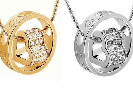 Groupon Goods Global GmbH - One or Two Round Heart Necklaces with Crystals - Save 88%