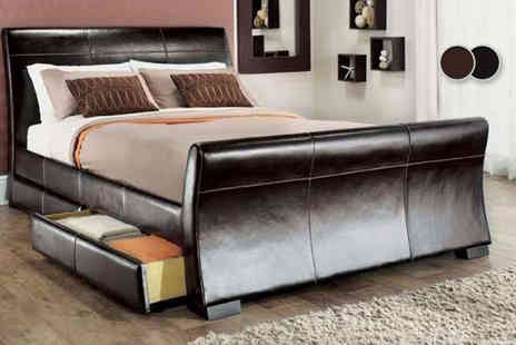 Giomani Designs - Faux leather sleigh storage bed frame with a mattress - Save 83%