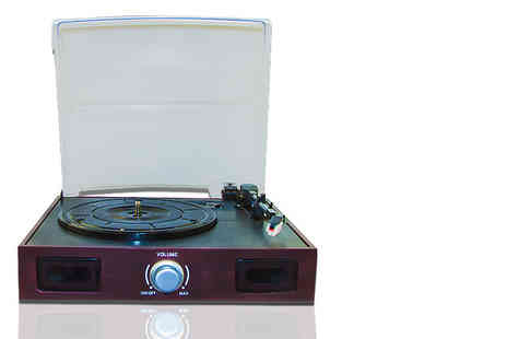Benross Marketing - Retro stereo turntable including speakers and USB cable - Save 70%