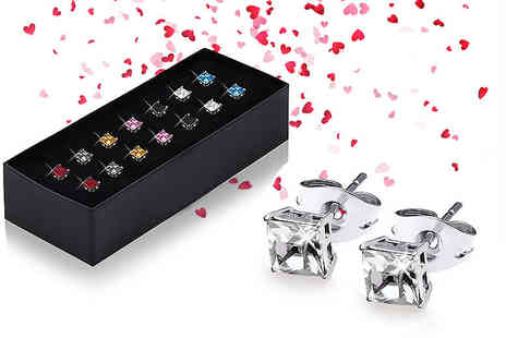 The Gemseller - Set of seven pairs of crystal earrings - Save 91%