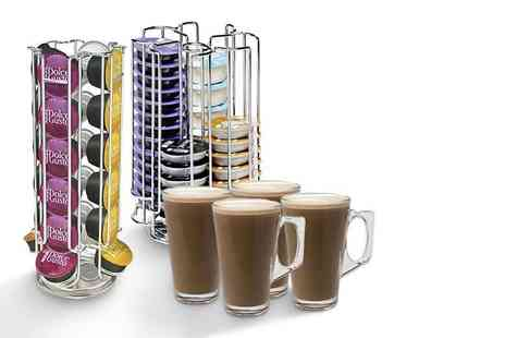 Ricomex UK - Dolce Gusto or a Tassimo coffee capsule holder stand and four latte glasses - Save 64%