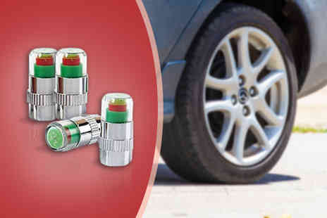 Ckent - Set of four tyre valve pressure check caps that indicate whether your pressure is low or high - Save 58%
