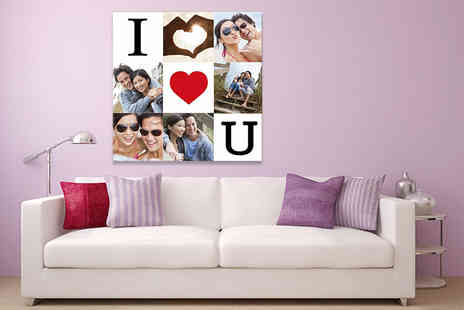 Discount Photo Prints - Square personalised collage canvas print choose from four sizes, get an ideal Valentines gift - Save 93%