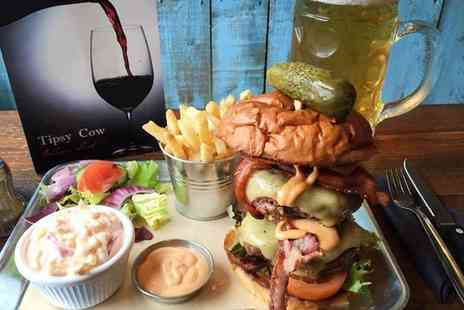 The Tipsy Cow - Burger, Side and Beer or Wine for Two or Four - Save 53%