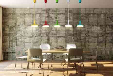 LED Bulb Centre - Hanging LED pendant light in blue, green, red and yellow - Save 40%