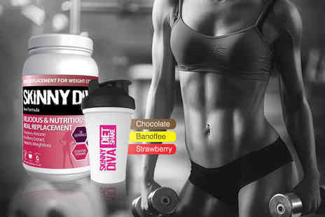 Skinny Diva - 980g tub of Diet Whey Max meal replacement complex and a shaker choose from three flavours - Save 52%