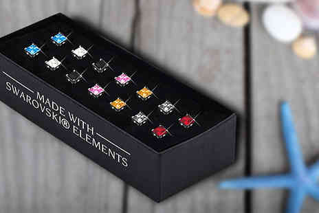 Lily Spencer - Set of Seven White Gold Plated Square Stud Earrings With Crystals From Swarovski - Save 90%