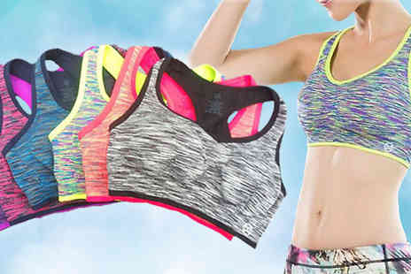 Eblacksquare - Pack of Three or Six Colourful Sports Bras - Save 80%