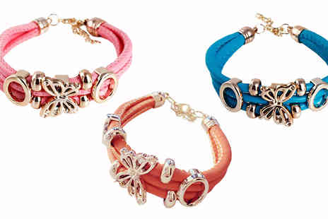 Trendy Banana - 18K Gold Plated Butterfly Bracelet Available in Three Colours - Save 84%