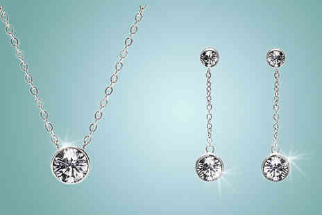 Lily Spencer - White Gold Tri Set With Crystals From Swarovski - Save 90%