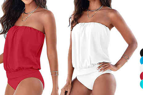 Shapelle - Strapless Swimsuit Available in Five Colours - Save 71%