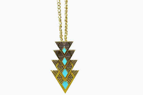 Girly Glitz - Retro Triangle Shaped Statement Necklace - Save 90%
