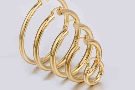 Romatco - Pair of 22K Gold Plated Hoop Earrings Five Sizes - Save 82%