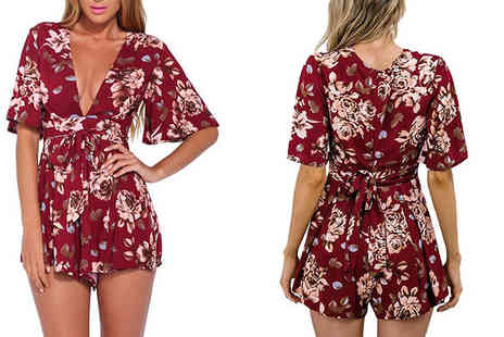 Shapelle - Red Floral Print Playsuit - Save 78%