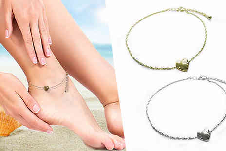 Anderson & Webb - Heart Charm Anklet Two Colours - Save 91%