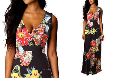 Bazaar me - Black Floral Empire Line Maxi Dress Five Sizes - Save 78%