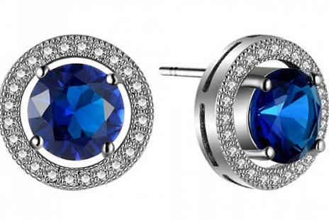 Fakurma UK - 18K White Gold Plated Earrings With Lab Created Blue Sapphires - Save 87%