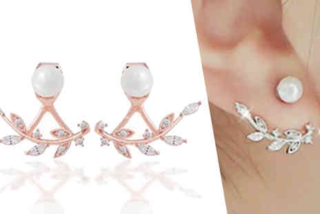 Fakurma UK - Double Leaf Simulated Crystal Earrings in 2 Colours - Save 90%