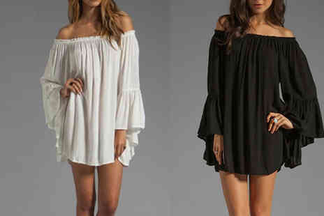 Bazaar me - Long Sleeved Bardot Chiffon Dress Two Colours - Save 80%