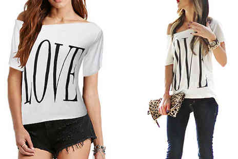 Bazaar me - Love Print Off The Shoulder Top - Save 80%