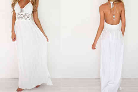 Bazaar me - White Cut Out Maxi Dress Four Sizes - Save 82%