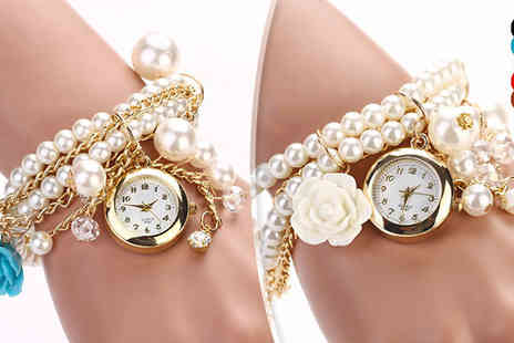 Romatco - Swarovski Elements Faux Pearl Bracelet Watch Five Colours - Save 84%