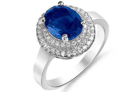 Gem Nation - 2ct Blue Simulated Sapphire Ring With 18K White Gold Plating - Save 90%