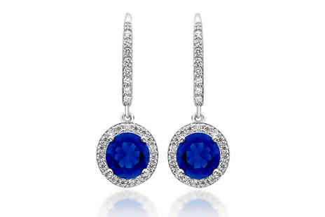 Gem Nation - 18K White Gold Plated Simulated Sapphire Drop Earrings - Save 92%