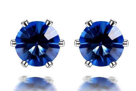 Gem Nation - 18K White Gold Plated Blue Simulated Sapphire Stud Earrings - Save 94%