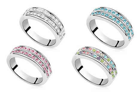 Fakurma UK - Rhodium Plated Double Row Simulated Crystal Ring - Save 91%