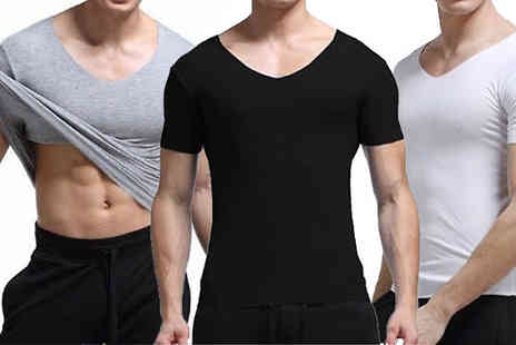 Bonicaro Design - Mens Slim Fit V Neck T Shirt in 3 Colours, 2 Sizes - Save 74%