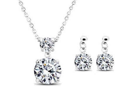 Romatco - 18K White Gold Plated Necklace and Earrings Set with Swarovki Elements - Save 82%