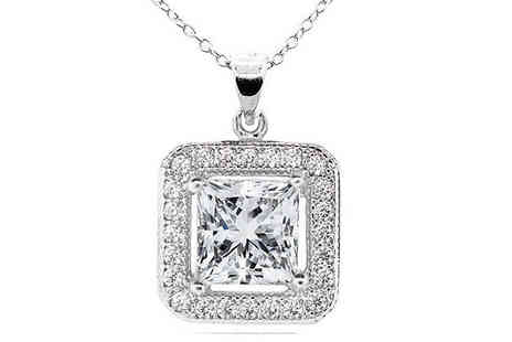 Romatco - 18K White Gold Plated Square Shaped Pendant with Swarovski Elements - Save 84%