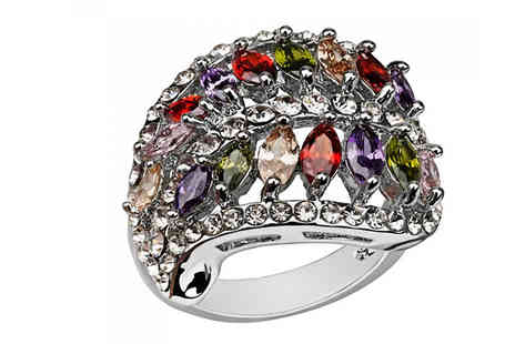 Your Ideal Gift - 2.5ct Multi Coloured Simulated Sapphire Ring - Save 93%