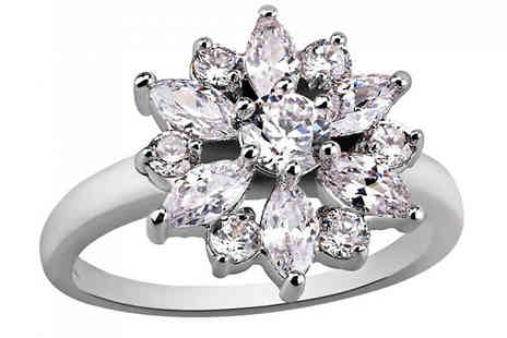 Your Ideal Gift - 2ct Flower Cut Clear Simulated Sapphire Rhodium Plated Ring - Save 93%