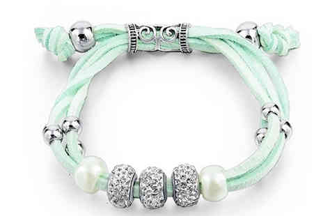 Trendy Banana - Cyan Bracelet Made With Crystals From Swarovski - Save 84%