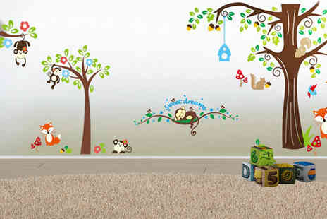 eBuzz - Large Monkey and Forest Animals Wall Decal - Save 71%