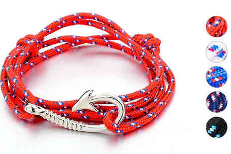 Trendy Banana - 18K White Gold Plated Fish Hook Bracelet in 5 Colours - Save 78%