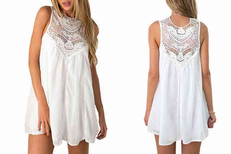 Marcus Emporium - White Lace Mini Dress - Save 80%