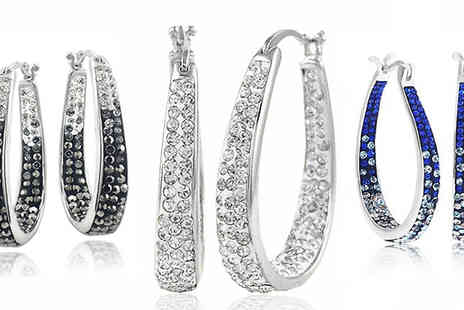 Marcus Emporium - Inside Out Swarovski Elements Hoop Earrings in 3 Crystal Colours - Save 90%