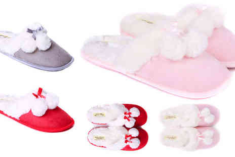 London Shoe Co - Pair of ladies luxury slippers available in grey, pink & red - Save 56%
