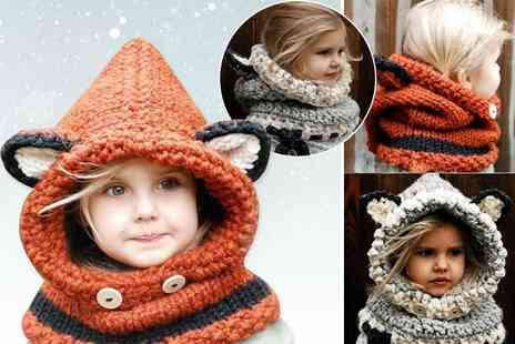 EF Mall - Kids hooded scarf choose from orange and grey - Save 76%
