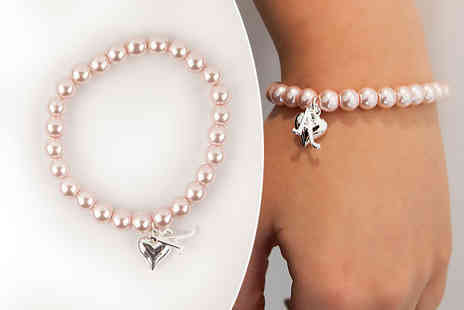 Aye Do - Personalised pearl bracelet choose from four charms and two colours - Save 54%