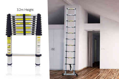 DUK - 3.2m telescopic lightweight ladder with a carry bag - Save 74%